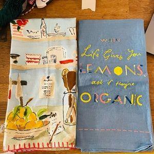 Anthropologie Set of 2 Dish Towels Kitchen Gift